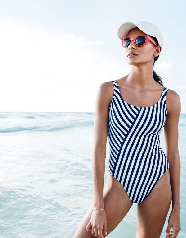 J.Crew women's scoopback one-piece swimsuit in classic stripe and Betty…