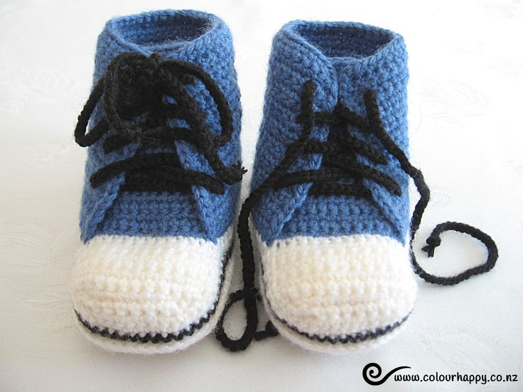 Baby High Top Boots - blue, 6 to 12 months ♥Made by Colour Happy / Adele, based on a pattern by Donna Childs