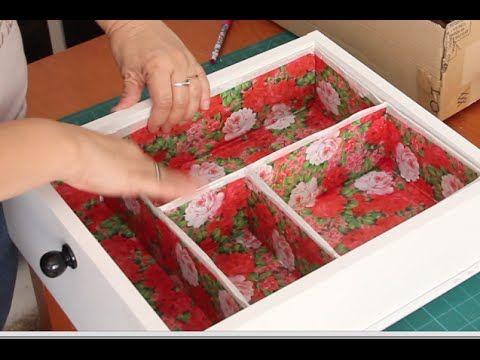 Divisória para gaveta feita com caixa de sapato e caixa de papelão. Reciclando…