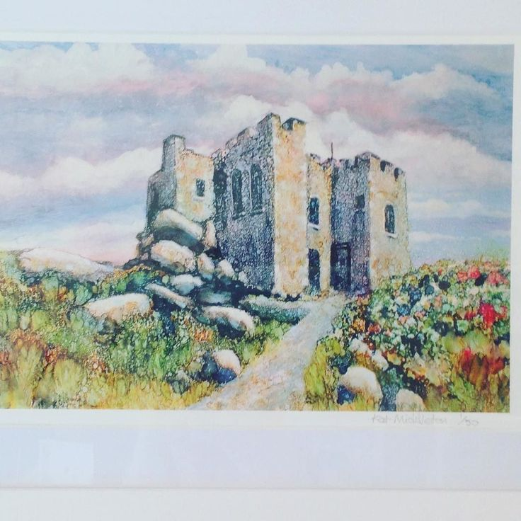#carnbreacastle in #alcoholink from Kat Middleton. Stunning piece of #art in #redruth