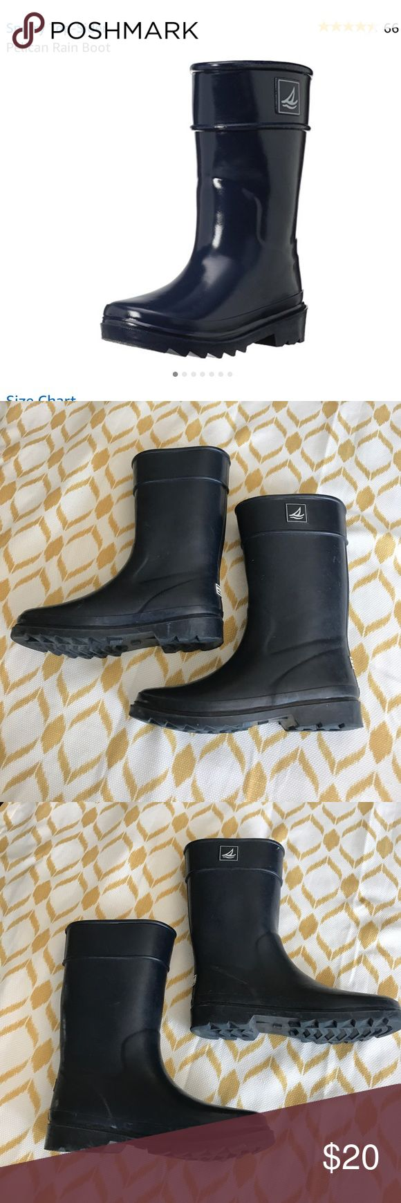 """Boys sperry rain boots pelican navy size 4 Boys sperry rain boots size """"big boy"""" 4. Boots are tall knee length, not ankle length. Boots are """"pelican navy"""" color, have some minor wearing/scuff at the tips but overall still in good shape. Sperry Top-Sider Shoes Rain & Snow Boots"""