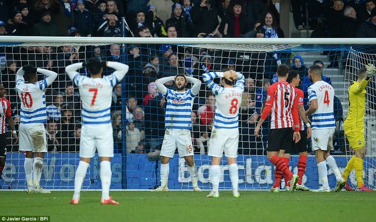 QPR players are left stunned after Charlie Austin sees his effort brilliantly saved by Southampton