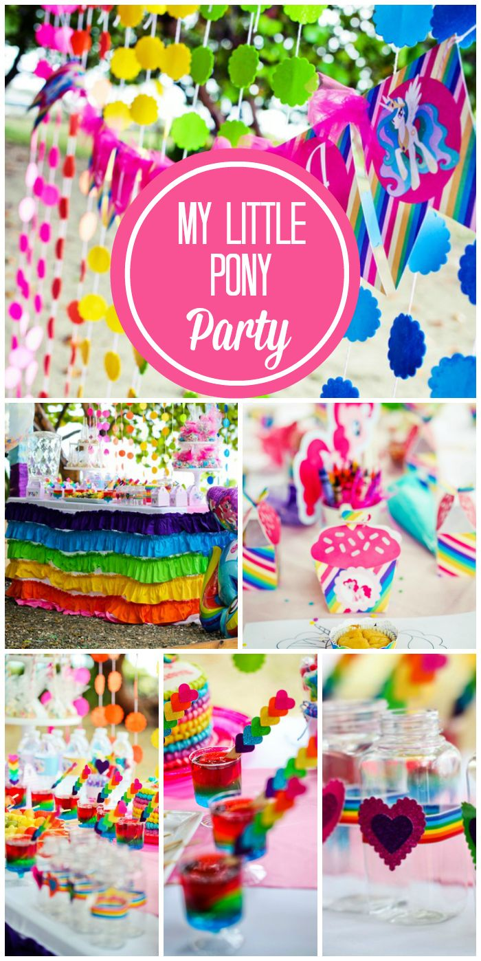 What an incredible My Little Pony girl birthday party in all the colors of the rainbow! See more party ideas at CatchMyParty.com!
