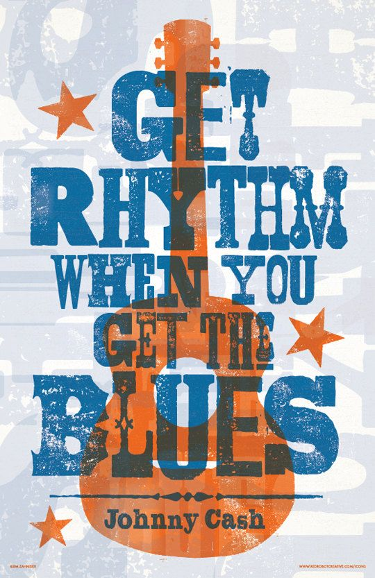 Johnny Cash  Get Rhythm  Lyric Poster 11 x 17 by RedRobotCreative Letterpress Hatch Show Style