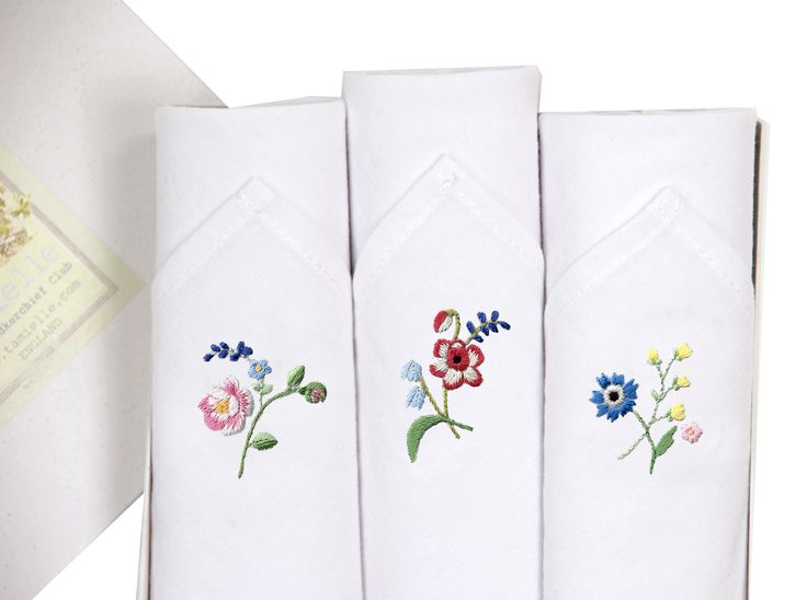 Our beautifully traditional ladies handkerchiefs with embroidered flowers on them. This are hand embroidery is made by a group of ladies from Madagascar especially for tamielle Handkerchiefs!