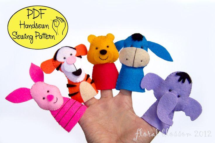 $5.00 PDF Pattern: Pooh and Friends Felt Finger Puppets:  FloralBlossom  PDF Patterns: Felt Ornaments, Finger Puppets and Dolls  Widia Purnomosidik  Jakarta, Dki Jakarta,   Indonesia