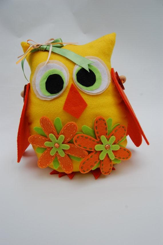 Owl doorstop colored felt handmade for home by fantasiedifili, $23.00