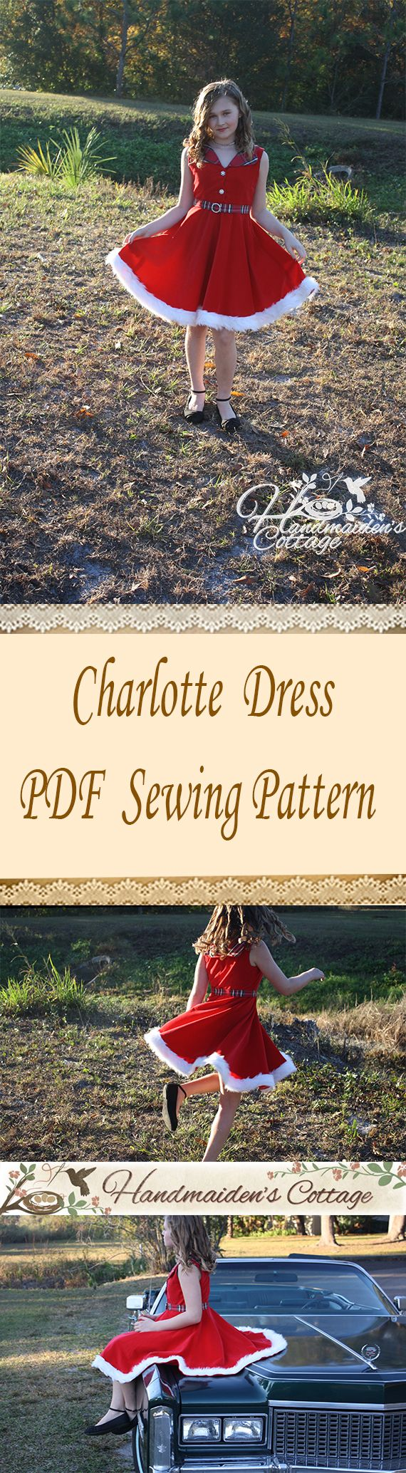 Charlotte Dress Sewing Pattern for girls sizes 3T-10 yrs old.