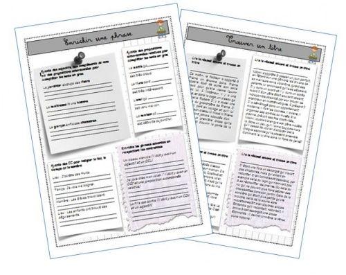 Exercices d'entraînements à l'écriture: trouver un titre, enrichir une phrase, éviter les répétitions...