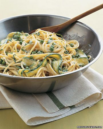 Spaghetti with Peas and Zucchini Ribbons  - Freshly shelled English peas (you can also use frozen), baby zucchini, and basil leaves create a gorgeous array of greens in this vegetarian pasta dish. Plain whole-milk yogurt makes a tangy, creamy sauce for the spaghetti
