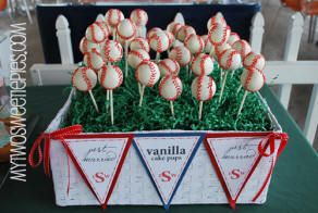 baseball wedding cake pops - baseball themed wedding reception