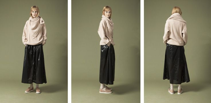 oversized scarf , oversized pullover , laser cut midi skirt