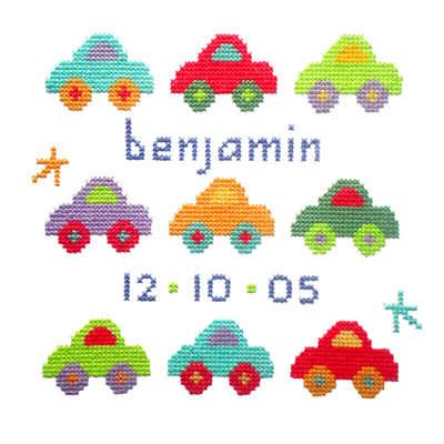 needlepoint baby samplers | Birth - Baby Boy - Car Sampler Cross Stitch