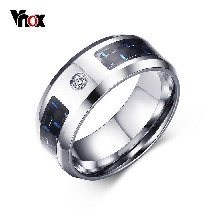 Vnox 2016 nowy palec serdeczny dla mężczyzn mężczyzna zincon pierścienie puste i niebieski carbon fiber