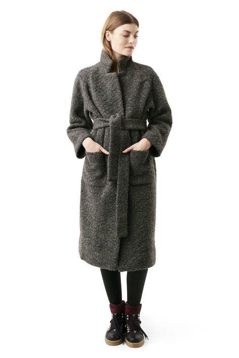 Fenn Long Wrap Coat, Smoked Pearl Melange