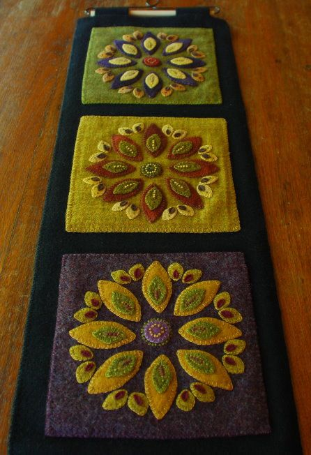 Hand dyed wool applique Americana wall hanging redware quilt block primitive felted fulled mill dyed penny rug embroidery quilt block