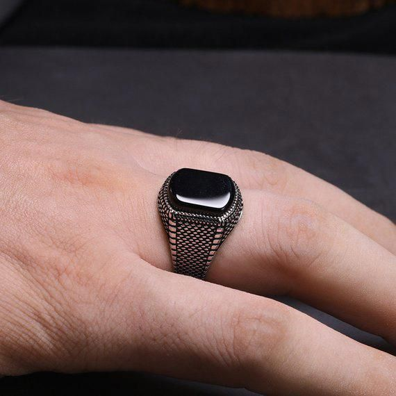 Mens ring/Rings for men/obsidian ring/man silver ring | Etsy #GoldAndSilverEarri…