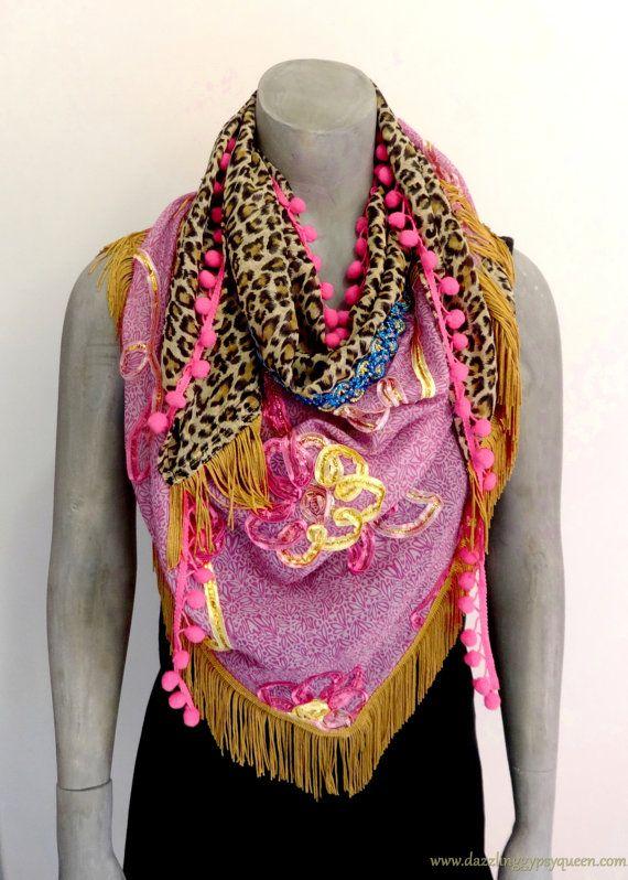 Gypsy Ibiza driehoek sjaal Lila  by Dazzling door DazzlingGypsyQueen
