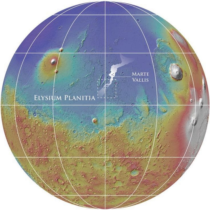 Earths Map%0A The Mars map shows the location of the nearly      kilometer Marte Vallis  channel system
