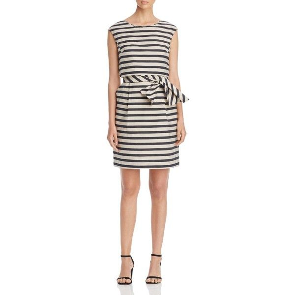 Weekend Max Mara Stella Striped Dress (4,290 EGP) ❤ liked on Polyvore featuring dresses, black, day to night dresses, tiered stripes dress, weekend max mara, stripe dresses and striped dresses