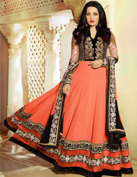 USD 70.83 Celina Jaitly Salmon Georgette Bollywood Anarkali Suit 55815