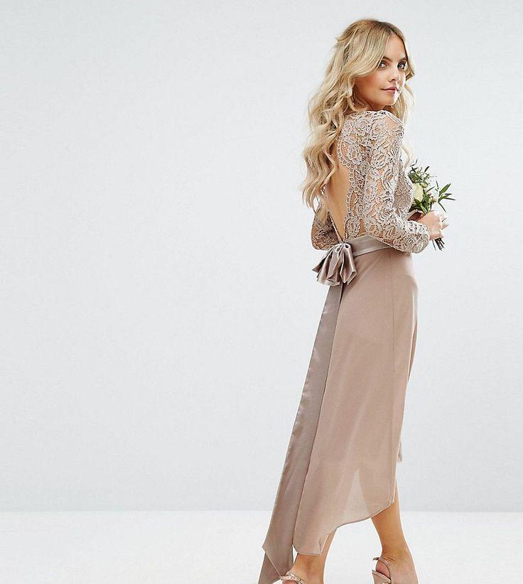 TFNC Petite Wedding Lace Midi Dress With Bow Back - Pink