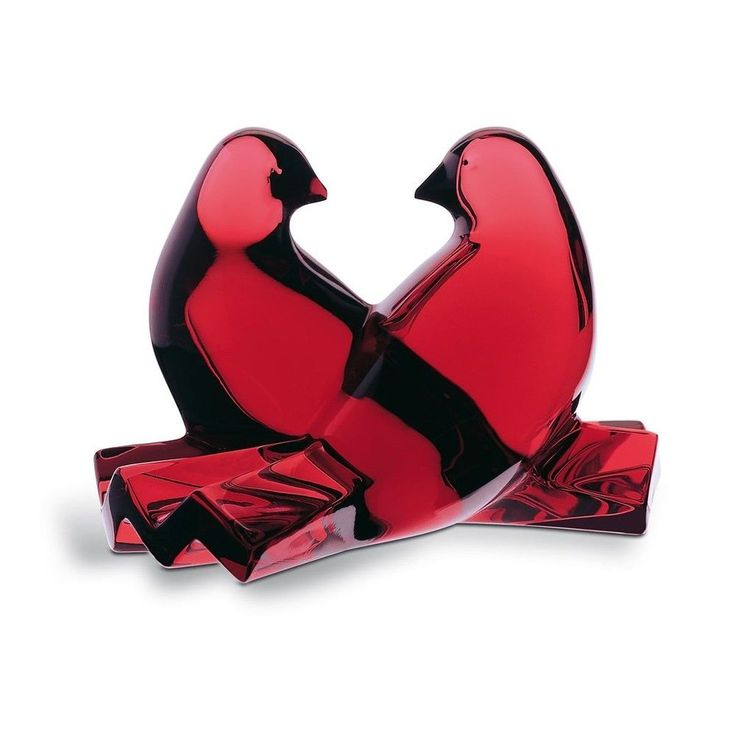 Baccarat Crystal Saint-Valentin Sculpture Colombe Colombes Doves Ruby Rouge