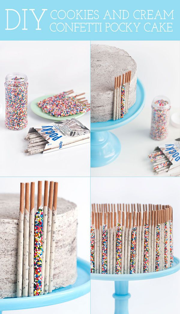 DIY Cookies & Cream Confetti Pocky Cake