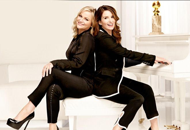 Amy Poehler & Tina Fey in pant suits for Golden Globes 2014 promo