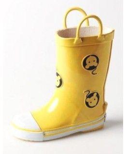 #Kalosze dziecięce , żółte z myszkami i uchwytem #Cayole