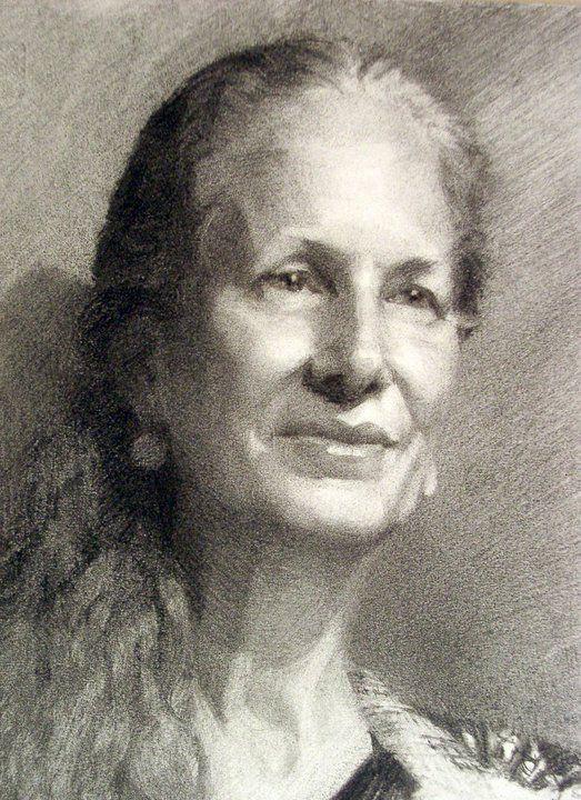 Linda Crank (detail, charcoal) w