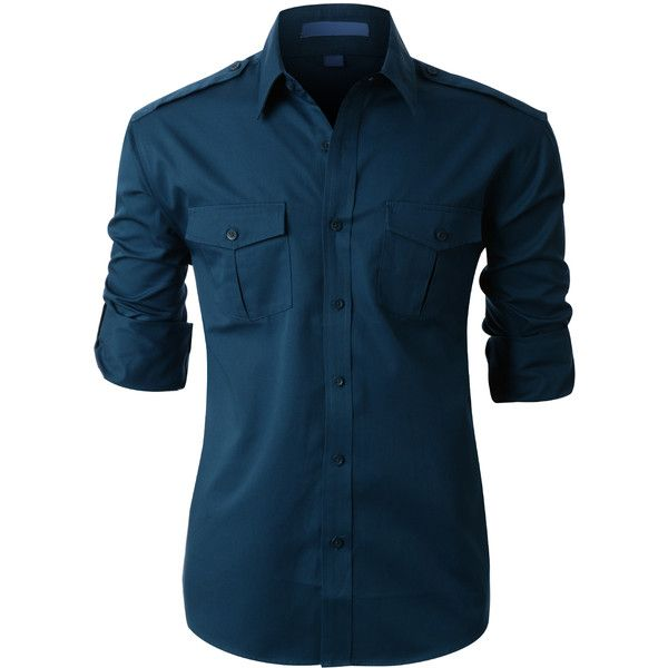 LE3NO PREMIUM Mens Twill Work Long Sleeve Button Down Shirt (£23) ❤ liked on Polyvore featuring men's fashion, men's clothing, men's shirts, men's casual shirts, men, shirts, mens tops, menswear, tops and mens long sleeve work shirts