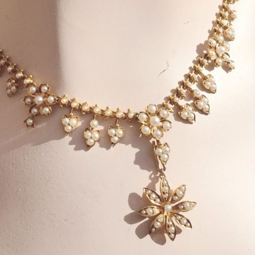 Victorian-Gold-Necklace-Edwardian-Pearls-15ct-15K-Gold-Scottish-English-Lavalier