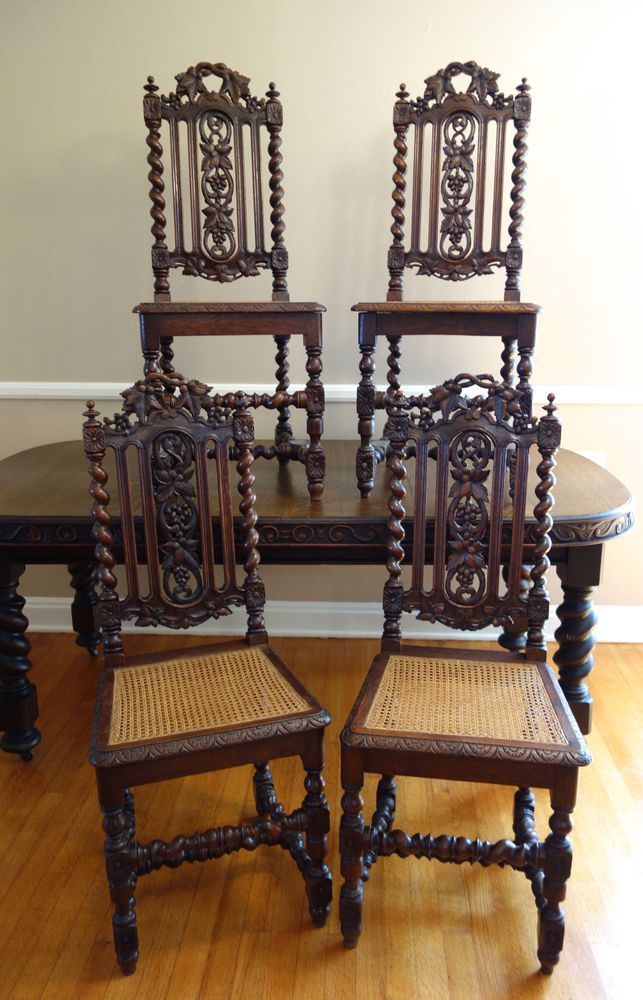 Set 4 Antique French Carved Oak Barley Twist Dining Chair