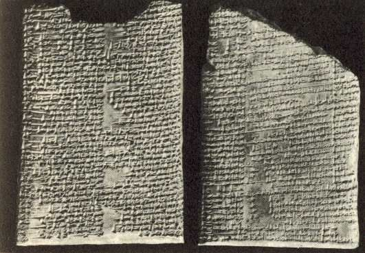 The Enuma Elish is written on seven tablets, each are between 115 and 170 lines long.     They were written no later than the reign of Nebuchadrezzar in the 12th century B.C.E. But there is also little doubt that this story was written much earlier, during the time of the Sumerians.  Henry Layard found within the ruins of the library of Ashurbanipal in Nineveh, texts not unlike the  Biblical Genesis . George Smith  published these  in 1876 as, The Chaldean Genesis.