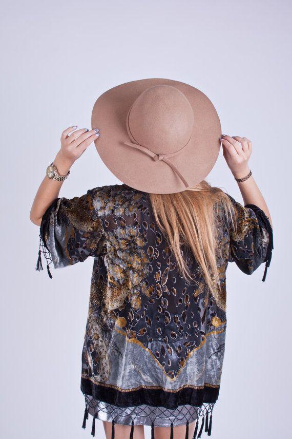 Camel Floppy Fedora Hat / Large Brim / by CreativeUnionclothin: