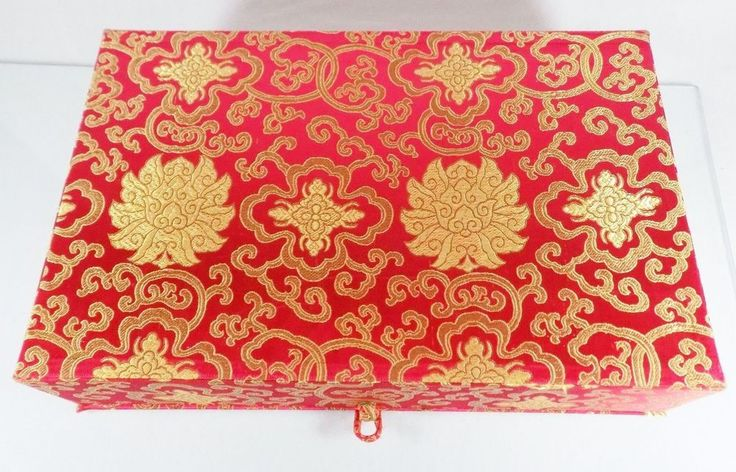 "#AaronBrothers Aaron Brothers #Art and Framing #photo #album and #collectible #decorative #storage #box covered with #red and golden #Asian inspired #Lotus print/pattern design #silken #brocade fabric material and frog knot closure and holds 400 4"" x 6"" photos, brand new with original manufacturer's factory informational label still attached to outer product…"