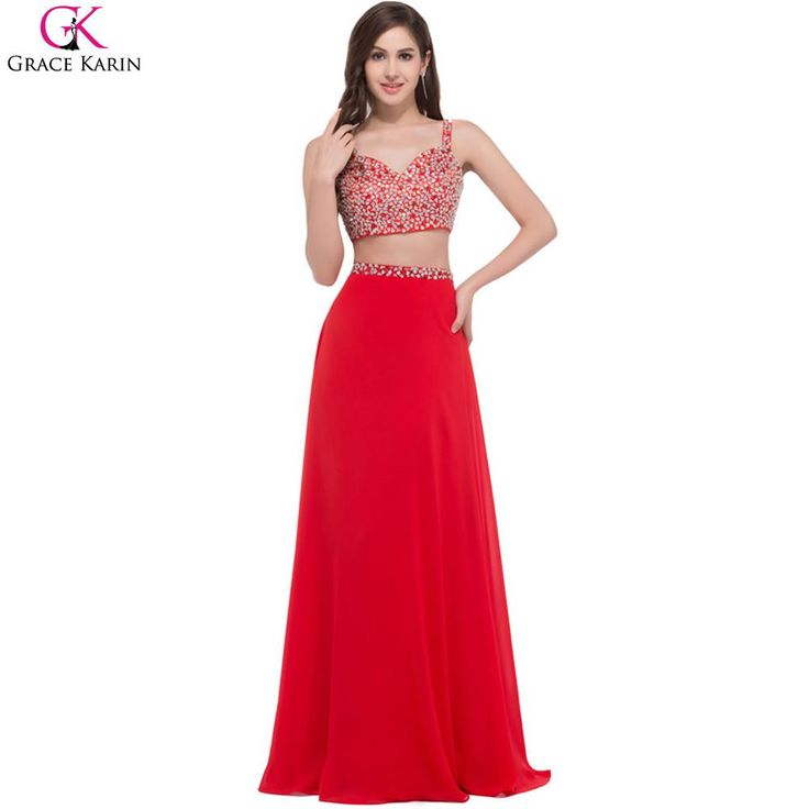 Crop Top Beaded Spaghetti Strap 2 Piece Formal Long Indian Prom Dresses - Available in Red, Black & White