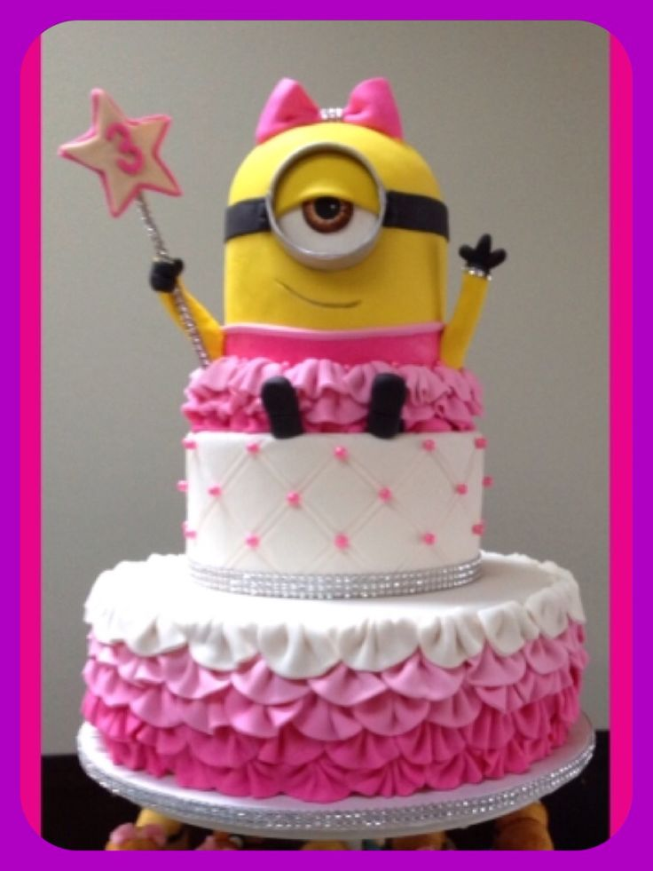 Minion Birthday Cake. Girl minion party. Pink minion.  Cute pink Bow Minion.  3rd birthday party. Made by Misti Short Cakes for her granddaughters 3rd birthday party.