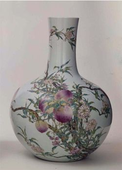"""Chinese (Qing dynasty 1644–1911, Quianlong mark and period, 1736–1795) Famille Rose Vase. Porcelain with overglaze enamels. 20 1/8"""" H. 1970.12"""