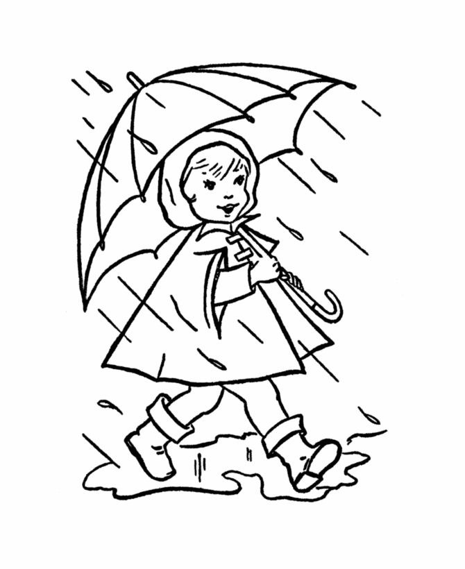 Spring Children and Fun Coloring Page 9 - Spring Rain ...