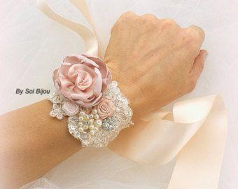 Pun o de la boda Dusty Rose oro champán Tan ramillete por SolBijou