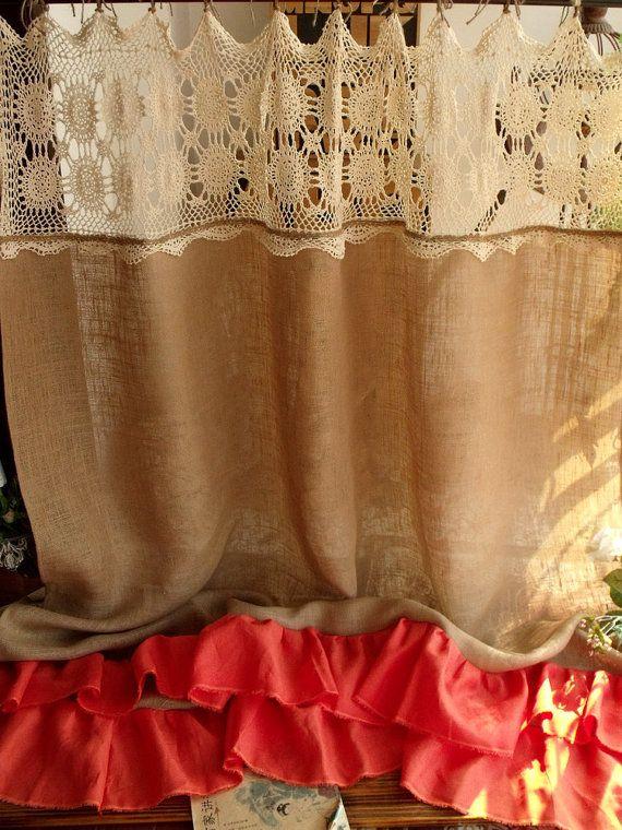 Vintage cream HAND Crochet Lace Ruffles Orange di BetterhomeLiving
