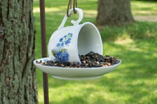 Teetasse Teller Vogel füttern Garten anlocken