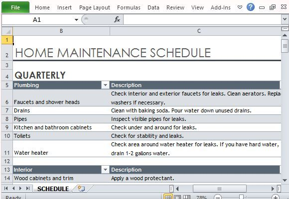 Home Maintenance Schedule Maker Template for Excel Excel - bill of lading template excel