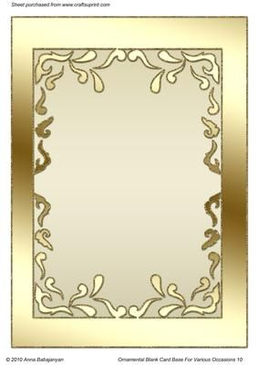 Ornamental Blank Card Base For Various Occasions 10 On