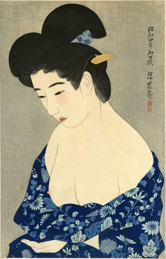 "Art by Ito Shinsui (1898-1972), 1929, ""Bathrobe"", First Series of the Modern Beauties, woodblock."