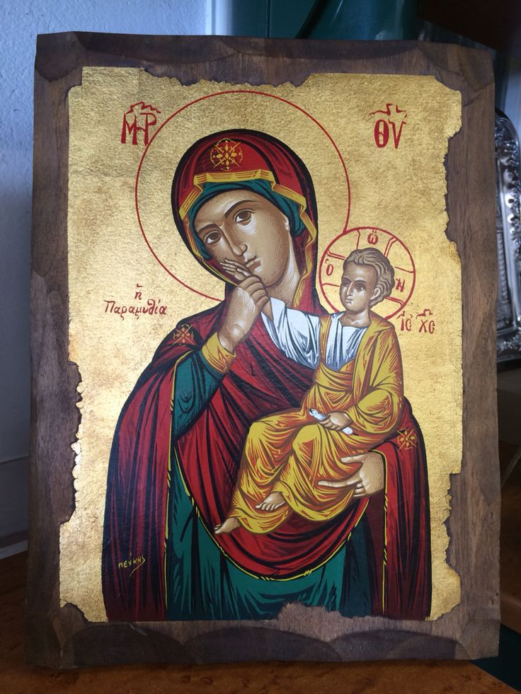 Wooden Orthodox Canvas Icon Paramythia @nioras.com can be seen in our Evaggelistrias 76 Tinos store
