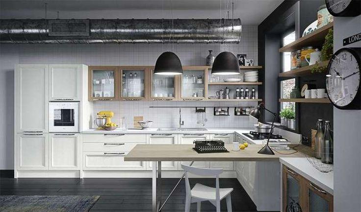 Magistra bianca Aran Cucine - Cucina bianca con elementi rovere chiaro del catalogo Aran 2016