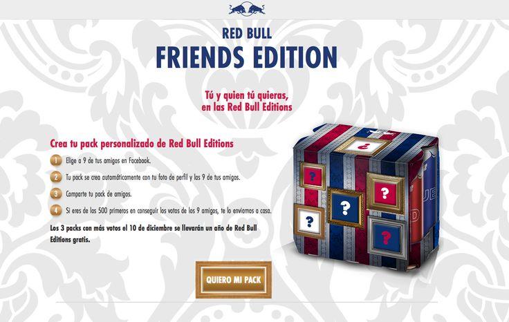 Social Media + Packaging. Red Bull ha creat una web que: mitjançant Facebook, et permet personalitzar les capses de RedBull amb imatges dels teus amics. 500 participants guanyaran una caixa d'Edició limitada.